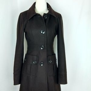 Anthropologie Tulle Chocolate Brown Pea Coat Small